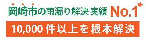 岡崎市の雨漏り解決 実績No.1 10,000件以上を根本解決