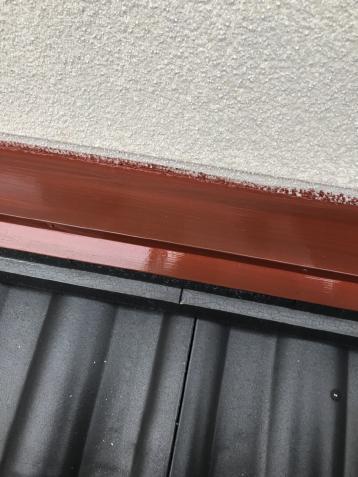 下屋水切り 錆止め塗布作業