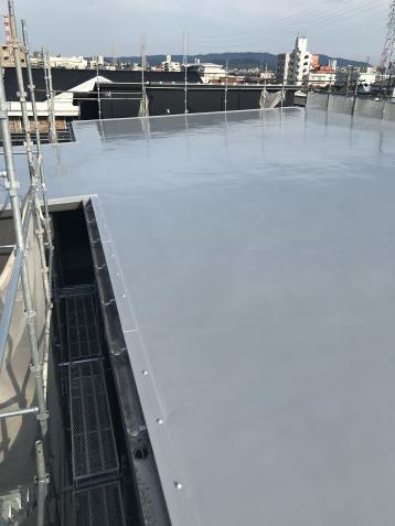 屋上防水完成 ウレタン防水 シリコン