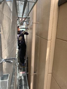 アパート外壁 塗替え 高圧洗浄作業