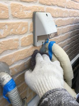 配管金具ケレン 外壁塗装工事 岡崎市