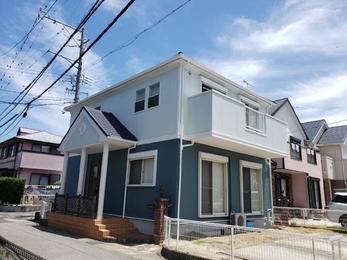 岡崎市 超低汚染リファイン 外部塗装屋根上張り施工事例